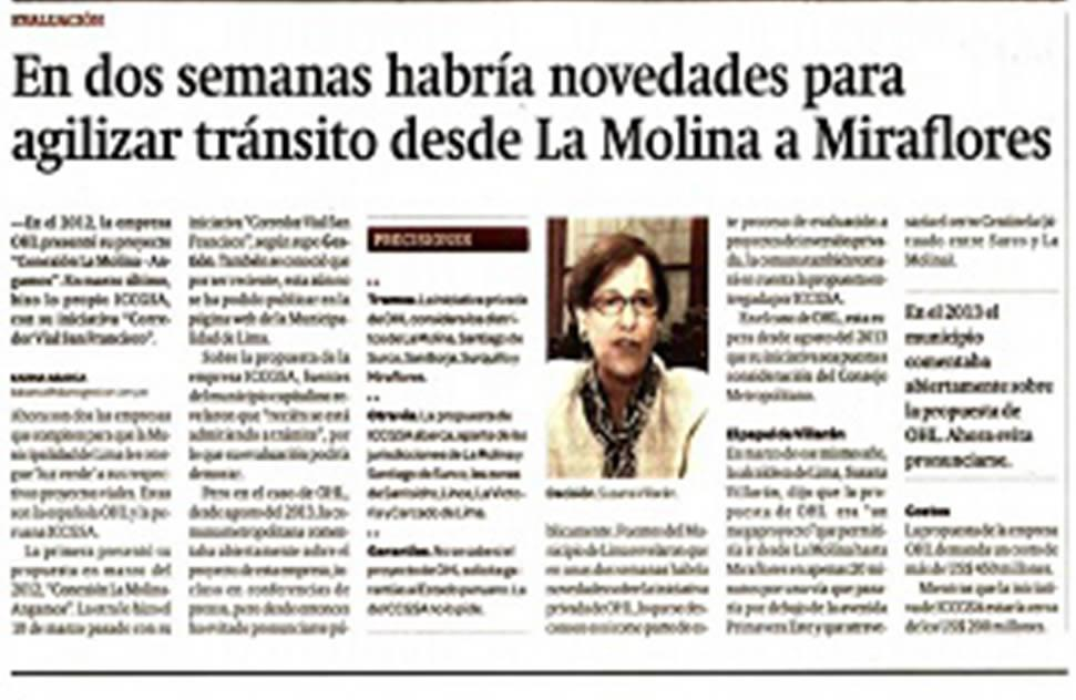 Transit from La Molina to Miraflores to be expedited in two weeks